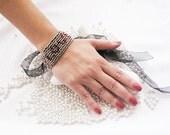 Valentines Day Love Bracelet, Sparkly Cuff,  Rhinestone Embroidered Bracelet, Cuff  Bracelet, Gift Love Bracalet