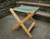 Folding Wooden Camping Chair Seat Outdoor Recliner Foot Stool Teal Chenille Bye Brytshi