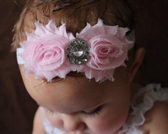 15% off, Baby Bows, Girl Flower Headband, in Light Pink, Baby Headbands, Child Headband, bows, Flower Headbands, Baby Girl Headband