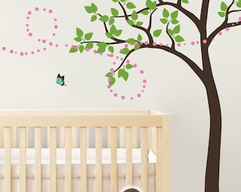 "Tree Wall Decal -  Nursery Wall Decoration - Tree Wall Sticker - butterfly Tree decal - Large: approx 85"" x 56"" - KC016"