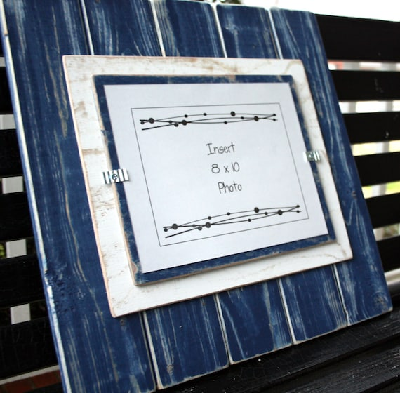 picture frame distressed wood holds an 8x10 photo double mats navy blue white from. Black Bedroom Furniture Sets. Home Design Ideas