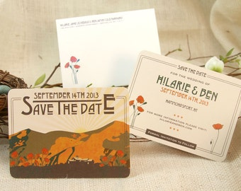 Craftsman  Poppy Flowers (Figueora) Mountain Save The Date with envelope: Get Started Deposit or DIY Payment