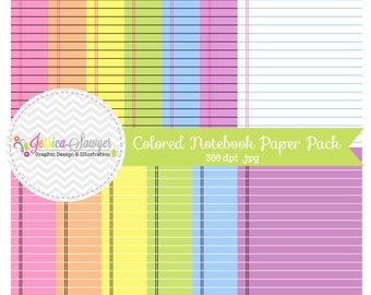INSTANT DOWNLOAD,  colorful printable notebook digital paper - printable notebook paper - doodle background - commercial use - teacher