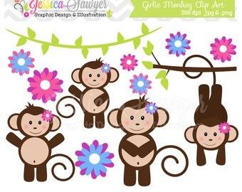 INSTANT DOWNLOAD,  girl monkey clip art - jungle clipart - girls birthday graphic - branches image - commercial use - party supply
