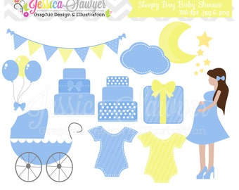 INSTANT DOWNLOAD - Baby boy shower clipart - cake - moon and stars - bunting banner - patterned- commercial use - image - graphic