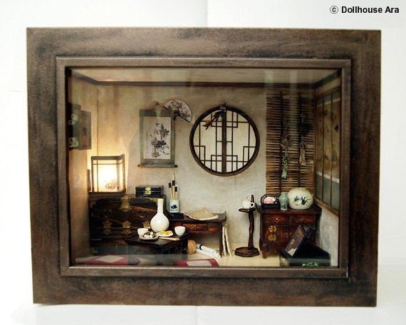 RESERVE LISTING For Natalie- The orient traditional room, asian old things, antiques, Miniatures 1:12
