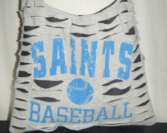 Saints Baseball Upcycled/Recycled Tshirt Cross Body Bag