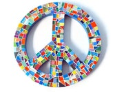 Multicolored Mosaic Peace Sign, Wall Art