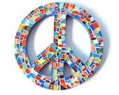 Multicolored Mosaic Peace Sign, Wall Art