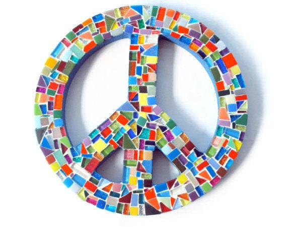 Peace Sign Wall Art multicolored mosaic peace sign wall art