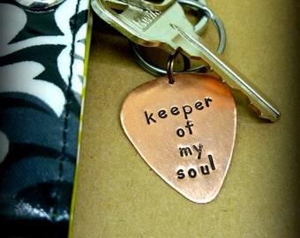 Guitar Pick Keychain - Hand Stamped Copper Guitar Pick Keychain