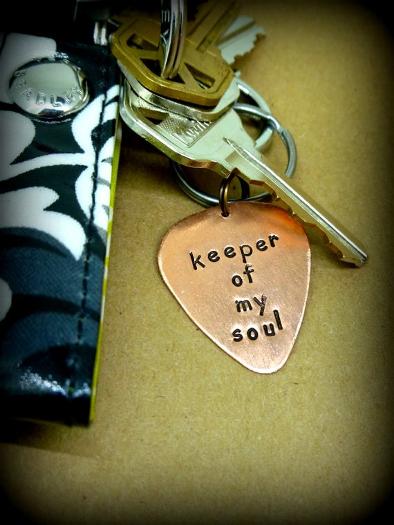 Guitar Pick Keychain - Hand Stamped Copper Guitar Pick Keychain