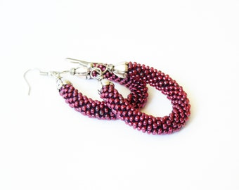 Sangria Earrings/Minimal jewelry/Pendant Earrings/Red Accessories/Circle Earrings/Pantone color/Fall collection