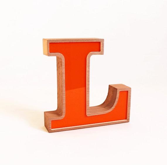 orange letter wooden l block letter l vintage 1985 letter l self standing