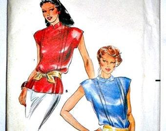 Misses Mandarin or Peter Pan Collar Blouse Vintage Sewing Pattern Butterick 6921 Size 10