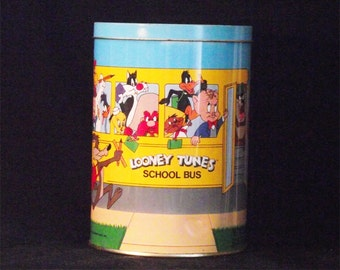 Vintage Looney Tunes School Bus Tin - Looney Tunes School Bus Tin- Looney Tunes Tin - Looney Tunes