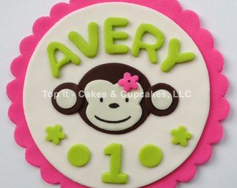 Fondant Cake Topper - Scalloped Mod Monkey (Girl)