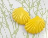 Mustard Yellow Earrings, Vintage 1980s, Seashell / Fan Shaped, Pierced Earrings