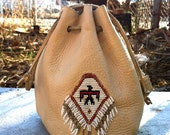Vintage Native American Leather Pouch with Fringe