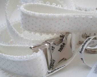 Wedding Dog Collar and Leash Ensemble - Wedding Collar Set - Bridal Collar and Leash Set - All White for the Classic Bride