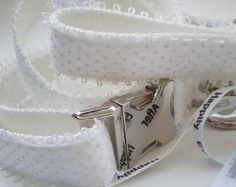 Wedding Dog Collar and Leash Set - All White Bridal Collar Lead for the Classic Bride - White Martingale or Buckle Collar