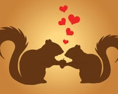 Just Two Nutty Squirrels In Love Vinyl Wall Art SHIPS FREE removable sticker decal squirrel heart hearts valentines lovers room cute acorn