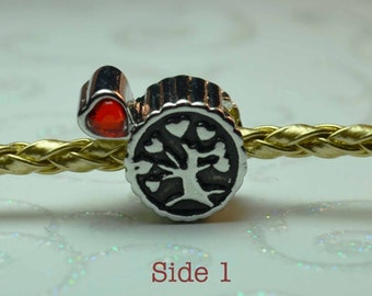 Red Heart Crystal Tree of Life Spacer Bead for European Style Charm Bracelet.