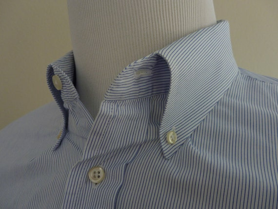 Vintage J. PRESS Blue Micro Pin Striped Button Down Collar End on End OCBD Dress Shirt 17 - 33.  Made in USA.