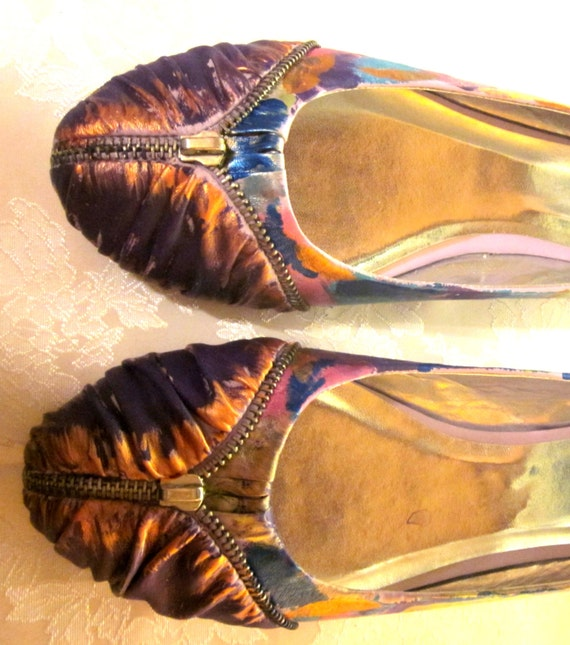 Custom painted ballet flat decorative zipper 8.5 ON SALE