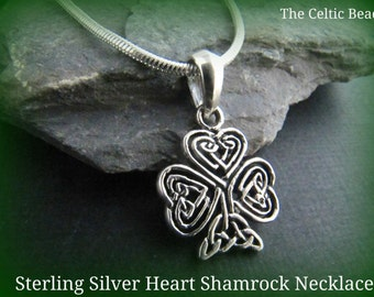 Sterling Silver Small Irish Shamrock Heart Necklace