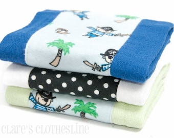 Baby Burp Cloths - Blue and Black Pirates Burp Cloth Set of 3 - READY TO SHIP