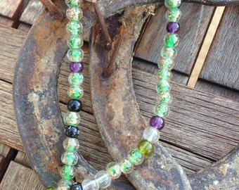 Lampwork Glass Beads in Green, Golds and Purples - Entire Strand