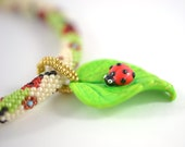 Ladybug - Beaded Necklace - Bead Crochet Necklace - White  Green  Red  Summer  Polymer clay  Beadwork Jewelry  Boho Hippie  Made to order