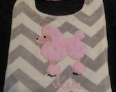 Pink Poodle Chevron bib