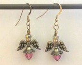 Pink Swarovski Angel Earrings