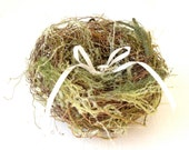 Wedding Ring Pillow, Woodland Ring Bearers Nest, Rustic Green Moss, romantic and simple cream shades