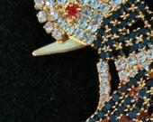 Rhinestone Czech Bird Pin-New Old Stock Large Vintage