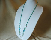 Beautiful Blue and Green Glass Beaded Lanyard Necklace - Eyeglass Holder - Id Badge Holder - Beaded Lanyard - Work Id Leash