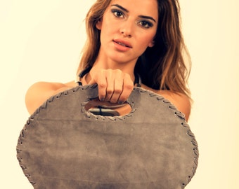 Grey Leather Oval Shape Bag -  Folded Clutch Purse