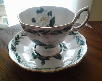 Royal Albert Lady Clare Teacup Set,  White Roses
