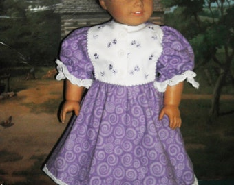 """American Girl 18"""" Doll Victorian Lavender Dress with Embroidered Bib Bodice and accessories"""