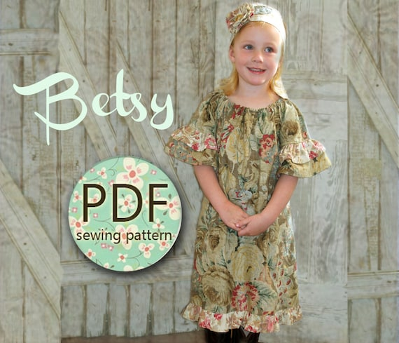 Betsy - Girl's Peasant Dress Pattern PDF. Girl's Sewing Pattern.Tutorial Easy Sew Sizes 12m-10 included