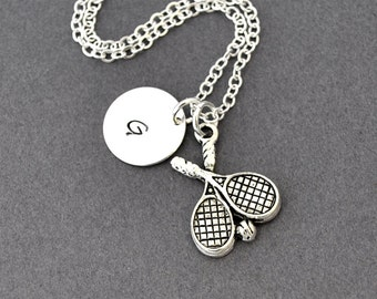 Tennis Necklace, Birthstone Initial Necklace, Monogram, Racket, Racquet Charm, Sport Jewelry, Personalized necklace, tennis team