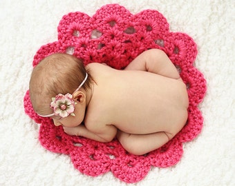 Newborn Photography Prop Newborn Photo Prop Newborn Baby Girl Photo Shoot Hot Pink Crochet Doily Crochet Flower Doily Baby Blanket Spring