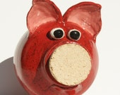 Ruby the Red Ceramic Piggy Bank - Hand Thrown Stoneware Pottery - muddywaterscc