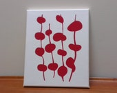 Handprinted Canvas - dark red and offwhite design (one only)