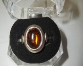 Mid Century Modern Sterling and Amber Ring  Size 9  Ships Free in USA  Thanksgiving, Black Friday, Cyber Monday, Christmas