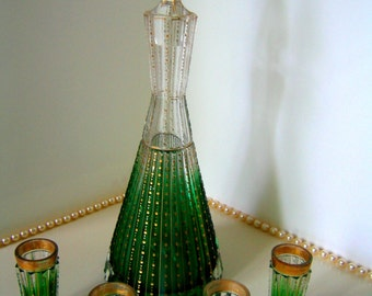 MOSER DECANTER SET Antique Cordial Clear-to-Green Pyramid w Prism-cut Body & Gold Stencil Highlights Gilt Trim Vintage Gift