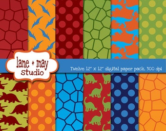digital scrapbook papers - red, blue, orange and green dinosaur theme patterns - INSTANT DOWNLOAD