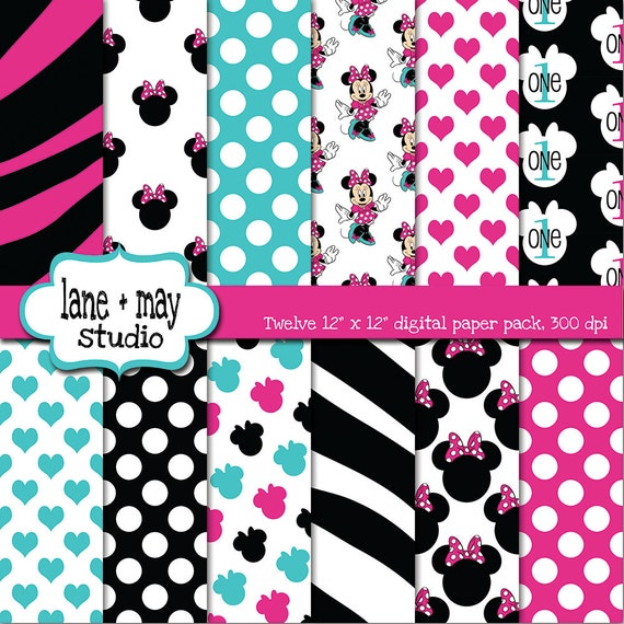 pink, black and aqua minnie mouse digital scrapbook papers